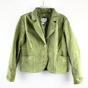 LIVE A LITTLE | Olive Blazer Style Leather Jacket